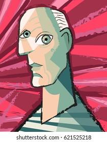 bald man artist painting portrait
