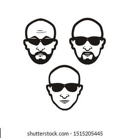 Bald Man with Black glasses face
