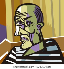 bald man cubist painter portrait