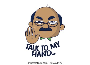 Bald Man Saying Talk to my hand. Vector Illustration. Isolated on white background.