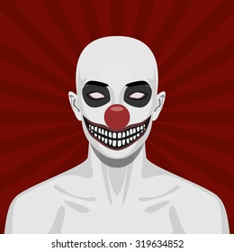 Bald scary Clown with smiling Face. Halloween Vector Illustration