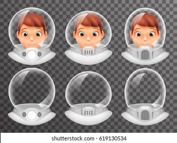 Bald Scientist Avatar Retro Realistic Helmet Cosmonaut Astronaut Spaceman Tantamareska Poster Transparent Glass Background Icon Template Mock Up Design Vector Illustration
