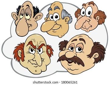 Baldness Men Illustrations - Cartoon Faces Collection