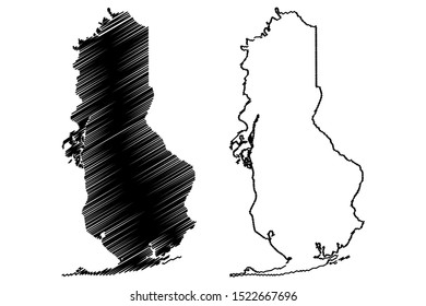 Baldwin County, Alabama (Counties in Alabama, United States of America,USA, U.S., US) map vector illustration, scribble sketch Baldwin map