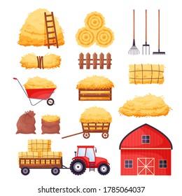 Bale of hay set. Farm barn, tractor, fence, pitchfork, rake, wheelbarrow isolated on white background. Flat dried haystack in wagon and sack, hayloft - cartoon vector illustration.