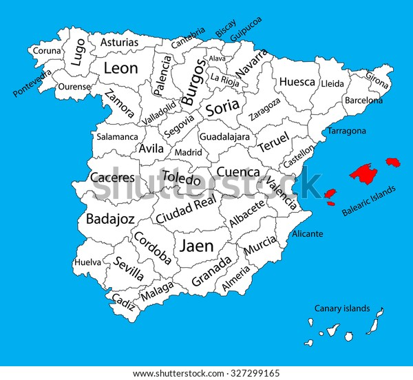 Map Of Spain And Surrounding Islands.Baleares Islands Map Spain Province Vector Stock Vector Royalty