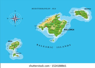 Balearic islands highly detailed physical map