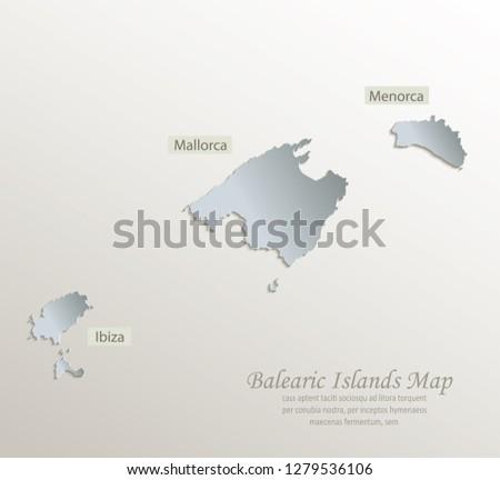 Ibiza Karte Umriss.Balearic Islands Mallorca Menorca Ibiza Map Stock Vektorgrafik