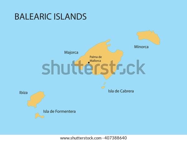 Image Vectorielle De Stock De Carte Des Iles Baleares Avec Indication 407388640