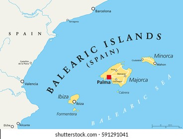 Balearic Islands political map with capital Palma. Archipelago of Spain in Mediterranean Sea near Iberian Peninsula coast. Majorca, Minorca, Ibiza, Formentera. lllustration. English labeling. Vector