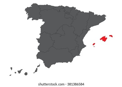 Balearic islands red map on gray Spain map vector