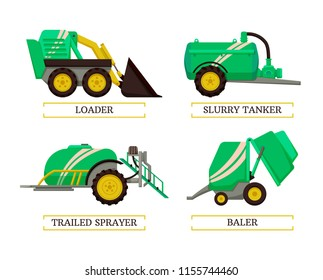 Baler and slurry tanker, loader and trailed sprayer agricultural machinery isolated icons set vector. Farming devices and machines auto mechanisms