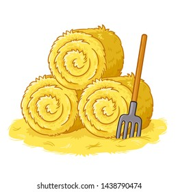 Bales with hay and pitchforks on a white background. Vector illustration in cartoon style on the theme of farm and agriculture.