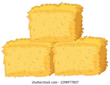 Bales of straw on white background illustration