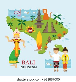 Bali, Indonesia Map with Travel and Attraction, Landmarks, Tourism and Traditional Culture