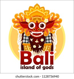 Bali island of gods sign with bright traditional Balinese Barong mask isolated on white background