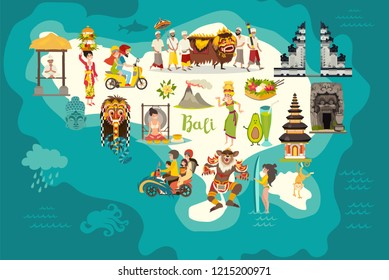 Bali map vector. Abstract atlas poster. Illustrated map of Bali for children/kid. Colorful landmarks design architecture and temple.Traditional new year.Balinese mask and offerings to the spirits