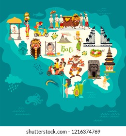 Bali map vector. Abstract atlas poster. Illustrated map of Bali for children/kid. Colorful landmarks design Gate architecture and temple.Traditional new year.Balinese mask and offerings to the spirits