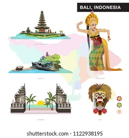 Bali set collection. Pura Ulu danu Bratan, Bedugul. Tanah Lot, Kuta, Balinese dancer, Leak.