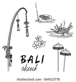 Bali sketch. Penjor for Galungan, ceremonial umbrellas, ceremonial box, frangipani. Religious ceremony, traditional holiday, flora.