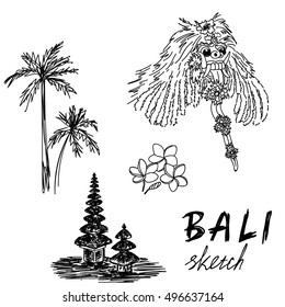 Bali sketch. Temple, Barong, palms, frangipani. Religious ceremony, traditional holiday, flora.