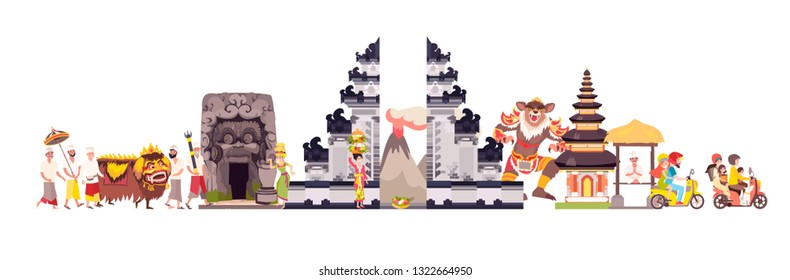 Bali skyline colorful background. Famous Balinese building. Bali hand drawn vector illustration. Balinese travel landmarks/attraction. Vector illustration isolated on white background