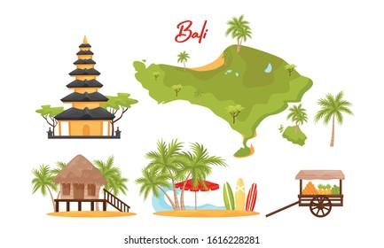Bali Symbols Vector Set. Famous and Favorite Tourist Destination