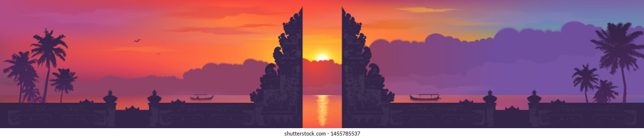 Bali traditional gate silhouette on sunset beach with palm trees and fishing boats background, vector balinese panorama banner illustration