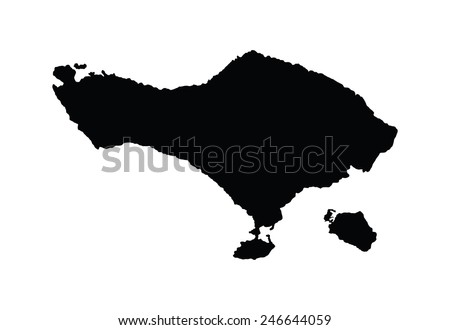 Bali Vector Map Silhouette Isolated On Stock Vector Royalty Free