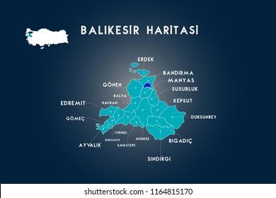 Balikesir districts Erdek, Bandirma, Manyas, Susurluk, Kepsut, Dursunbey, Bigadic, Sindirgi, Savastepe, ivrindi, Burhaniye, Ayvalik, Gomec, Edremit, Havran, Balya, Gonen map, Turkey