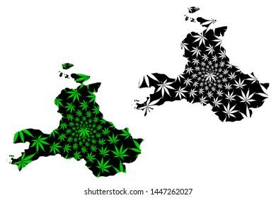 Balikesir (Provinces of the Republic of Turkey) map is designed cannabis leaf green and black, Balikesir ili map made of marijuana (marihuana,THC) foliage,