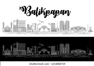 Balikpapan Cityscape. Kalimantan provinve, Indonesia. EPS 10