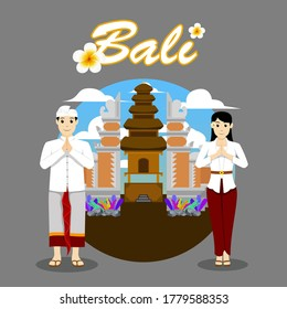 Balinese couple namaste in front of gate and temple background