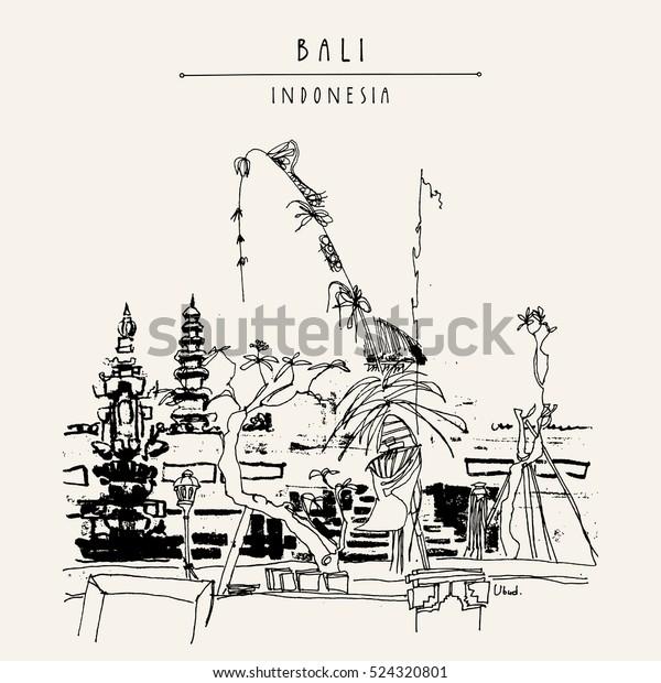 Balinese Hindu Temple Pura Ubud Bali Stock Vector Royalty Free 524320801