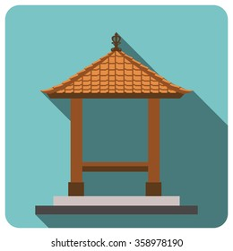 Balinese style, traditional building.  Flat icon. EPS 10.