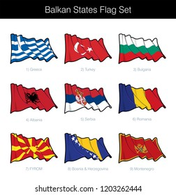 Balkan States Waving Flag Set. The set includes the flags of Greece, Turkey, Bulgaria Albania, Serbia, Romania, FYROM, Bosnia Herzegovina and Montenegro. Vector Icons all elements neatly on Layers