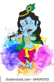 Bal-Krishna illustration Vector for Greeting