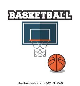 Ball and basket of Basketball sport design
