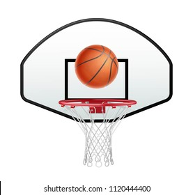Ball for basketball and basketball hoop isolated on white background