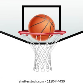 Ball for basketball and basketball hoop on white background. Hitting the ball in the basket
