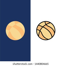 Ball, Basketball, Nba, Sport  Icons. Flat and Line Filled Icon Set Vector Blue Background