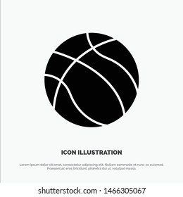 Ball, Basketball, Nba, Sport solid Glyph Icon vector. Vector Icon Template background