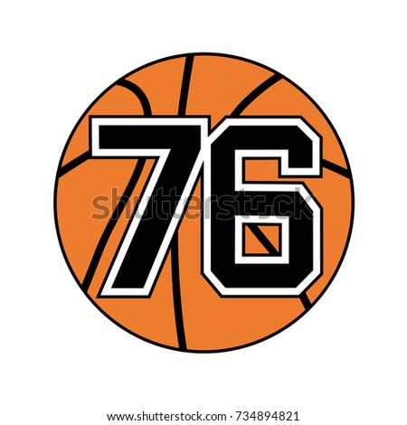 ball basketball symbol number 76 stock vector royalty free