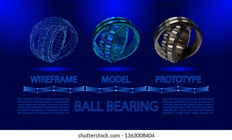 Ball bearing abstract low poly vector. Bearing wireframe concept and realistic prototype. Industrial mechanism on blue background with thin grid. Landscape orientation poster.
