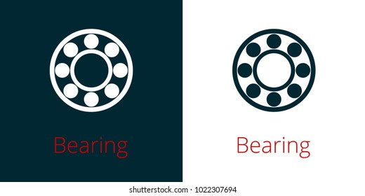 Ball bearing flat vector icon on white background and inversion