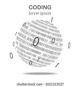 Ball of binary code, black and white.