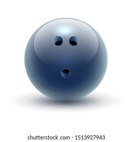 Ball for bowling, hard drilled sphere for club sport. Throwing sphere with holes. Candlepin or duckpin, five-pin or ten-pin urethane. Equipment for competition sport. Game and play, activity theme
