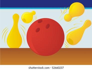 Ball bowling pins standing splits