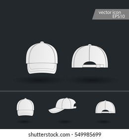 Ball cap. Vector icons for video, mobile apps, Web sites and print projects. Baseball cap - Vector icon isolated