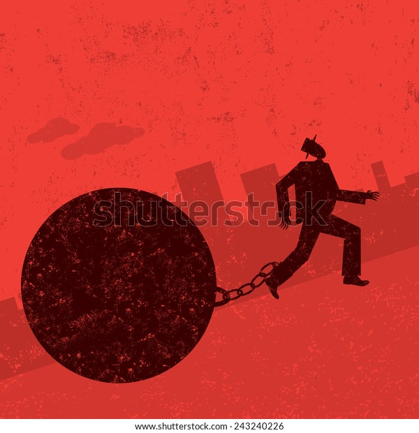 Ball and Chain A businessman trying to escape from his ball and chain. The man with ball & chain and the background are on separately labeled layers.